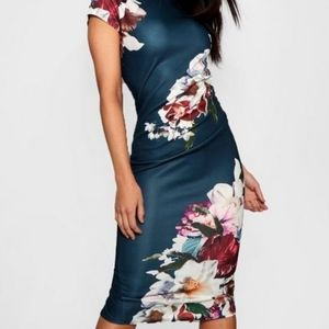Floral Pleat Detail Midi Dress